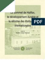 Le sommet de Halifax, le développment durable et la réforme des institutions internationales