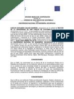 Convenio Marco de Cooperaciòn entre la Universidad de San Carlos de Guatemala y la Universidad Nacional de Ingenieria, NICARAGUA.