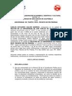 Convenio de Colaboración Académica, Cientìfica y Cultural entre la Universidad de San Carlos de Guatemala y la Universidad de Puerto Rico, Recinto de Rìo Piedras, PUERTO RICO.