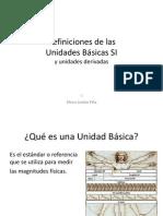 Definiciones de lasUnidades Básicas SIy unidades derivadas