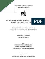 Validacion de Metodologias Para El Calculo de Caudales Maximos en El Salvador