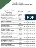 Turno de exámenes - Noviembre-diciembre 2012