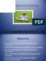 Developmental Screening Fall 2012