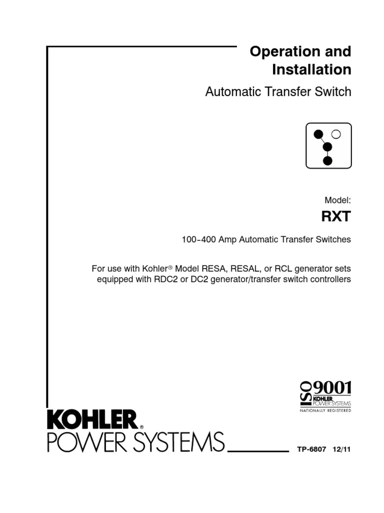 Kohler Wiring Diagram Rdc2 Electrical Diagrams Franklin Electric Rxt Transfer Switch Install