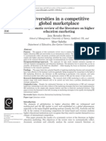 Universities in a Competitive Global Marketplace a Systematic Review of the Literature on Higher Education Marketing