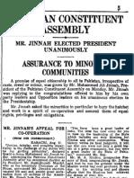 Jinnah's 11 August, 1947 Speech