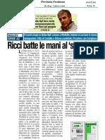 18 Ott.'12 LA PROVINCIA FR (Ricci Batte La Mani Al Suo Sora, Di Gianpiero Pugliesi)