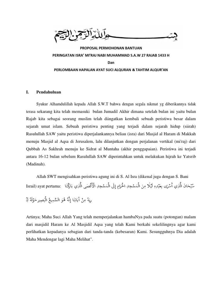 Proposal Permohonan Bantuan Isra Mi Raj