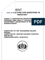Tax Structure in Pakistan for Investors
