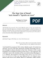 'Aziz Nasafi's ''Epistle on Love''
