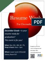 December Grads Resume Week