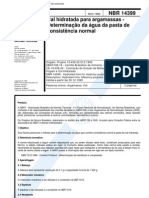 NBR 14399 - 1999 - Cal Hidratada Para Argamassas - Determinacao Da Agua Da Pasta de Consistencia Normal