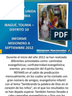 INFORME MISIONERO a Septiembre 2012 - Distrito 10 - Ibagué, Tolima