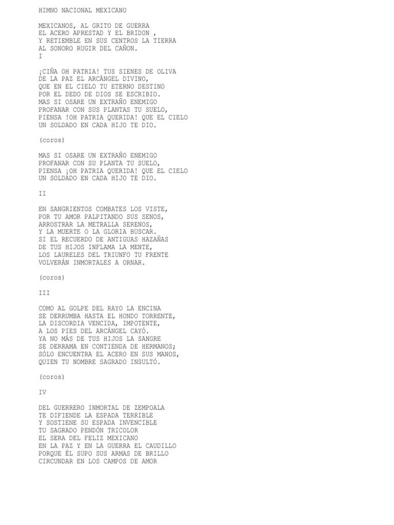 que significa torrente en el himno nacional mexicano