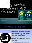 Library Services to Distance MLS Students