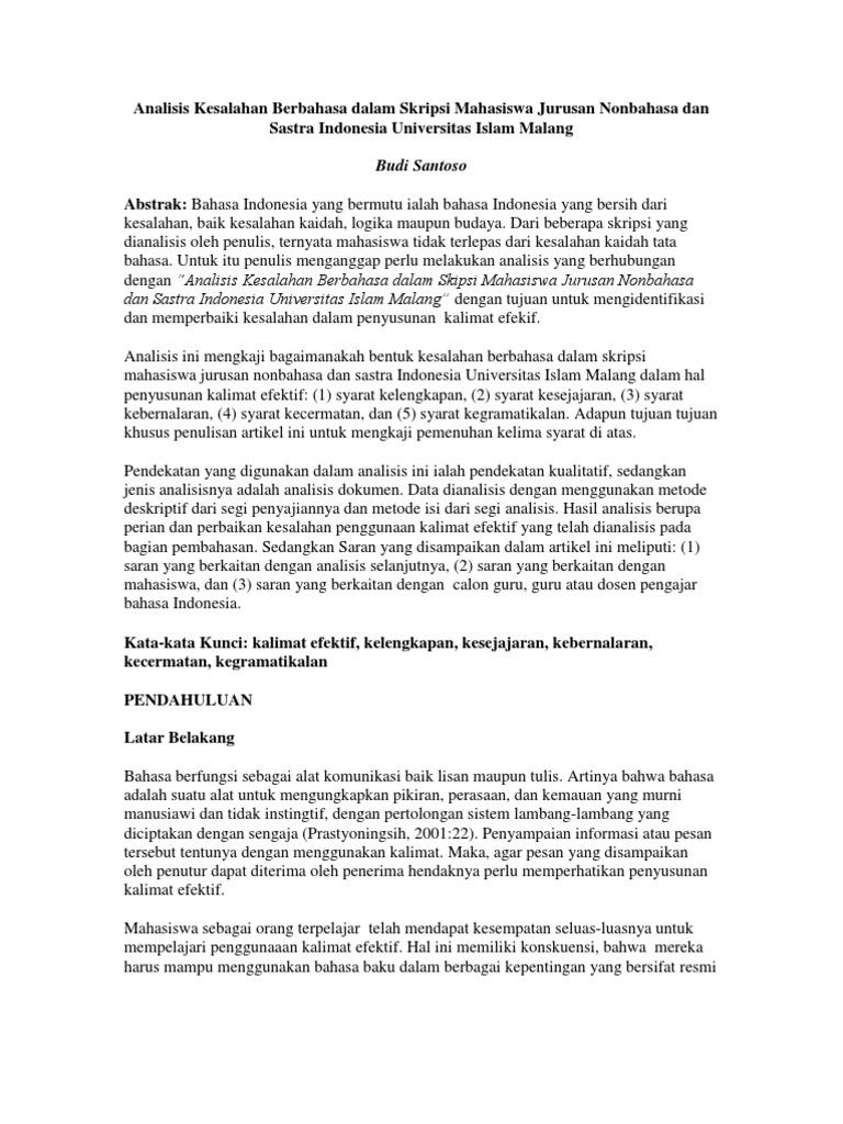 Analisis Kesalahan Berbahasa Dalam Skripsi Mahasiswa Jurusan