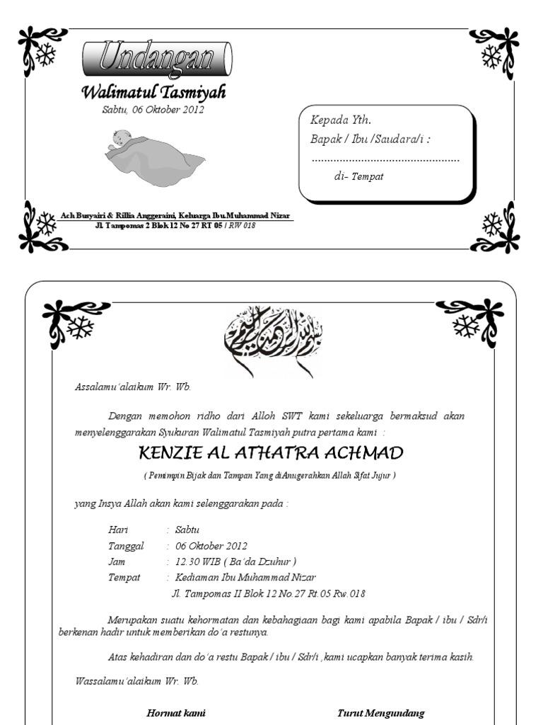 Undangan Syukuran Walimatul Tasmiyah & Aqiqah   PDF