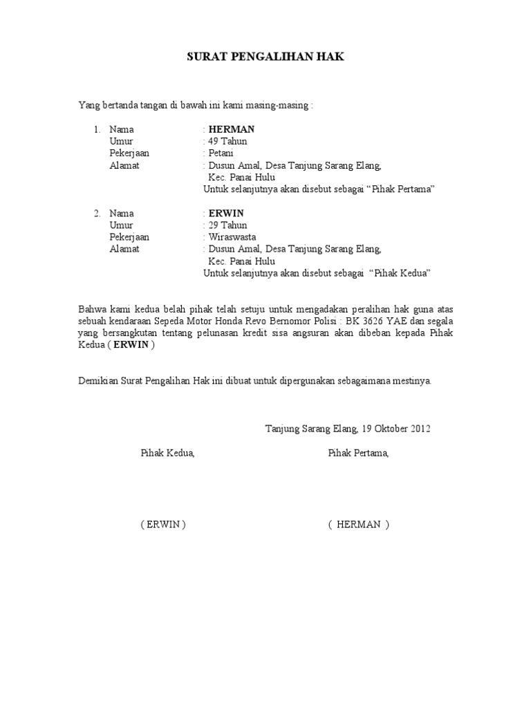 Contoh Surat Pengalihan Hak