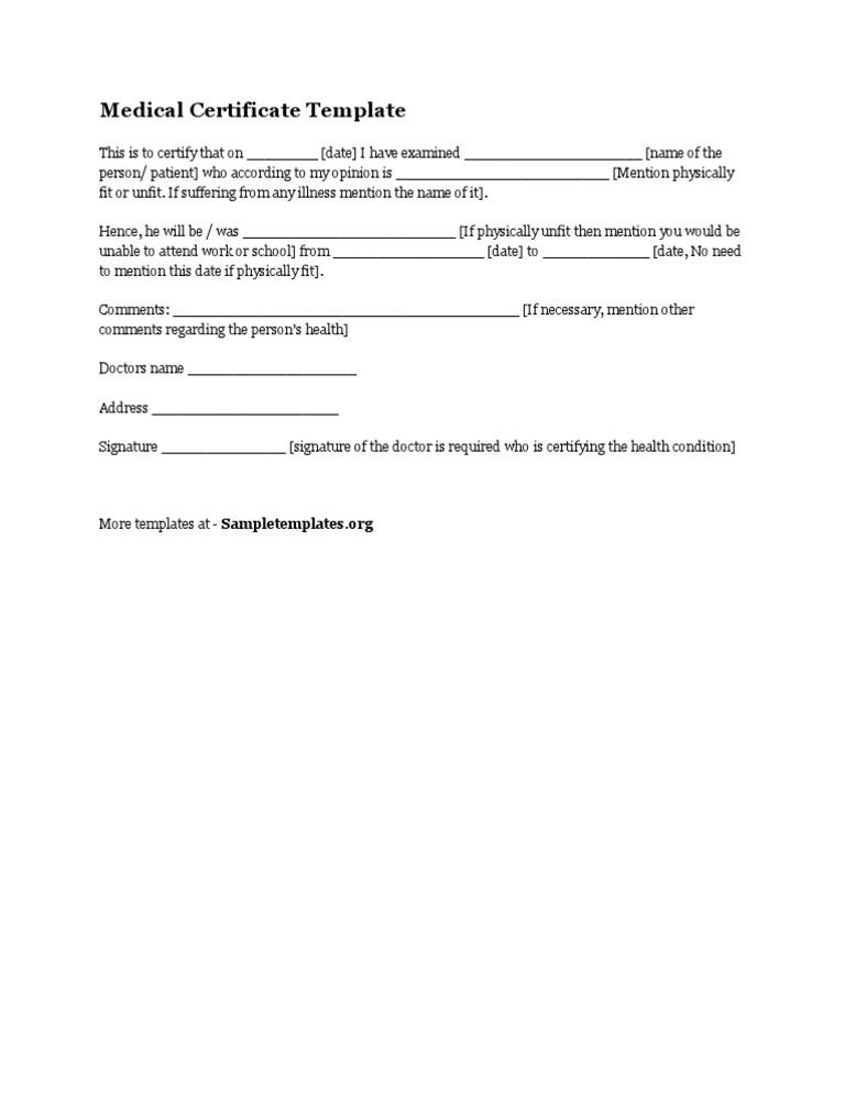 Medical Certificate Template Extraordinary 1522127750V1