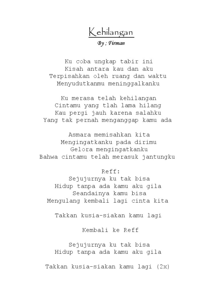 Lirik Lagu Band
