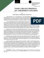 Biotech Food Labeling Proposal Raises First Amendment Concerns