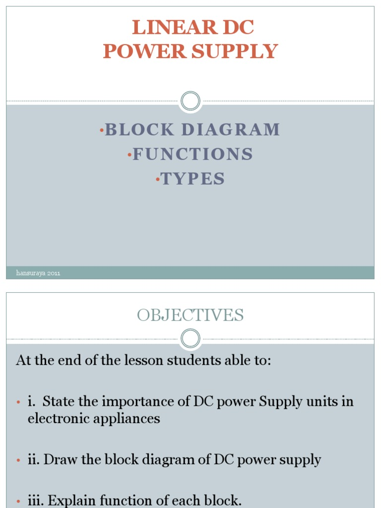 Note Chapter 1 Linear Dc Power Supply Rectifier Block Diagram