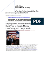 Employees of Romney Family Secret Bank Tied to Fraud Money Laundering