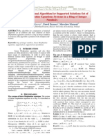 The Computational Algorithm for Supported Solutions Set of Linear Diophantine Equations Systems in a Ring of Integer Numbers