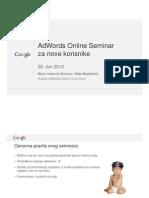 Google AdWords Za Nove Korisnike Prezentacija