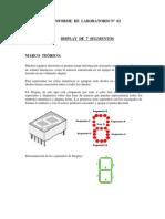 Informe de Laboratorio Display 7 Segmentos
