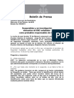 16-02-2011 Suspendidos y en investigación elementos de SSC señalados como probables responsables de robo
