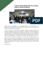 Estudiantes de Escuela de Gobernabilidad del Cusco realizan pasantía en nuestra institución