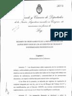 Texto Ley Riesgo del Trabajo aprobado ayer en Diputados