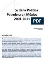 BALANCE DE LA POLÍTICA PETROLERA EN MÉXICO