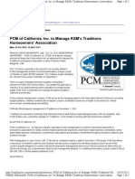 PCM of California, Inc. to Manage RSM's Traditions Homeowners' Association