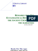 REMARKS UPON THE ECCLESIASTICAL HISTORY OF THE ANCIENT CHURCHES OF THE ALBIGENSES by Peter Allix D.D