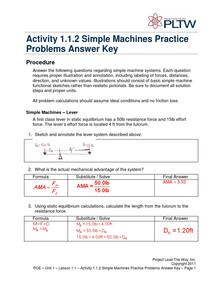 A112SimpleMachinesPracticeProblemsAnsKey 1 1 Lever – Mechanical Advantage of Simple Machines Worksheet
