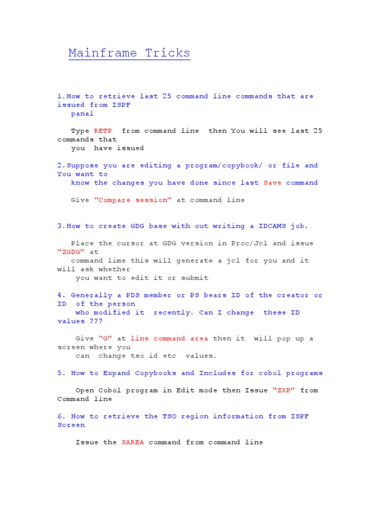 Twenty Tricks for Mainframe Users   Command Line Interface