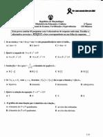 Exame Nacional Moçambique 12ª Classe Matemática 2ª Época 2008