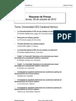 Resumen de Prensa, 26-10-12 (2)