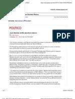 OH-Sen Original Politico Piece on Mandel & Abortion (Oct. 25, 2012)