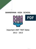 Important Unit Test Dates