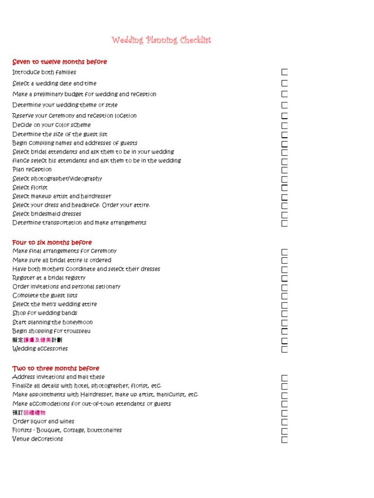 wedding checklist bridesmaid wedding