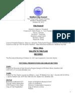 Medford City Council Agenda October 30, 2012