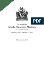 Lincoln Alexander funeral program
