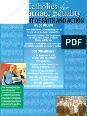 Ad from Catholics for Marriage Equality Washington State