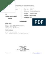Tim Davis Five Day Suspension Arbitration Decision