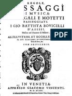 BOVICELLI Regole, Passaggi Di Musica 1594