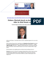 Beacon News Article 10-26-12 Holmes, Hurtado Knock on Doors, In Each 42nd Disctrict State Senate Race