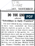 Early Frankford Schooldays